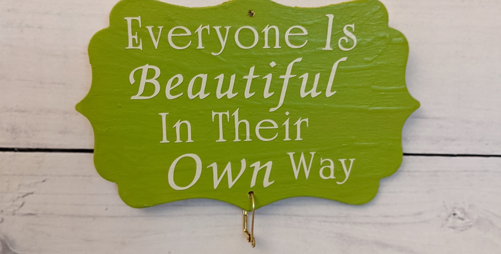 "Kiwi Lime Green Wall Plaque ""Everyone Is Beautiful In Their Own Way"""