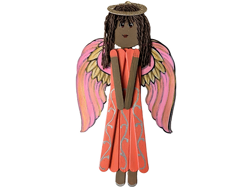 Fun Wooden Angel Popsicle Stick Home Decor, Honoring Diversity, Milena
