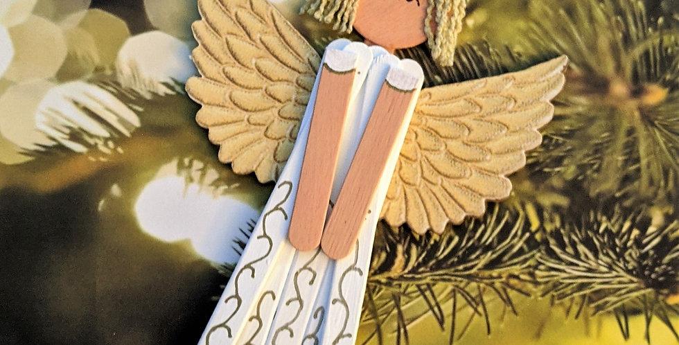Wooden Wedding / Christmas Angel Wall Decor / Ornament, Milada