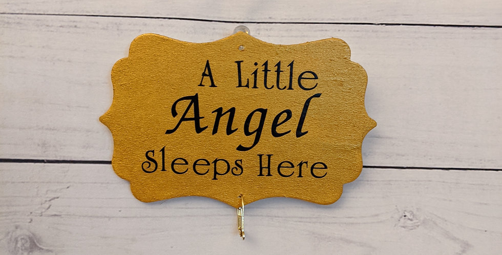 "Metallic Gold Wall Plaque ""A Little Angel Sleeps Here"""