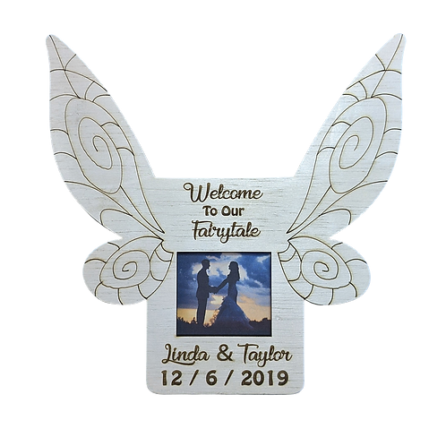 Fairytale Wedding Fairy Wings Picture Frame, Personalized