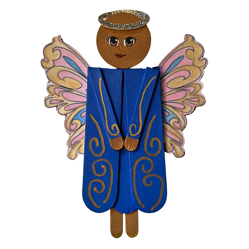Cheerful Wooden Angel, Popsicle Stick Home Decor, Charaya
