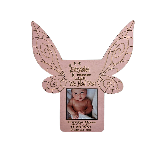 Fairytale Pixie Wings New Baby Picture Frame, Personalized