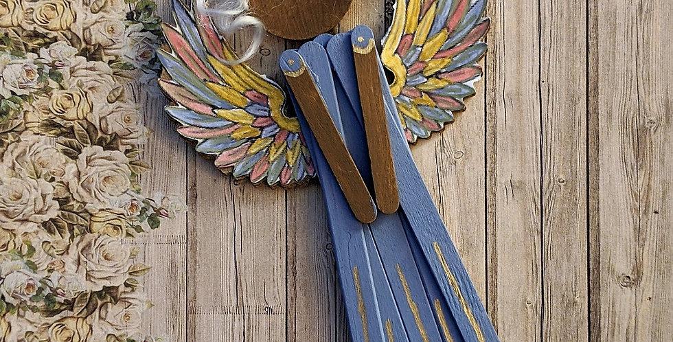 Wooden Angel Elegant Wall / Tree Home Holiday Decor, Calida