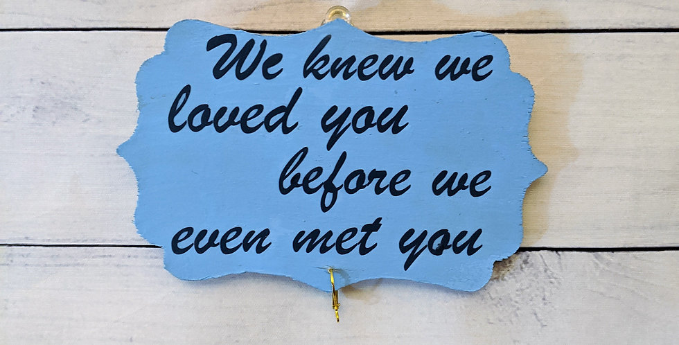 """Baby Blue Wood Wall Plaque """"We knew we loved you"""""""