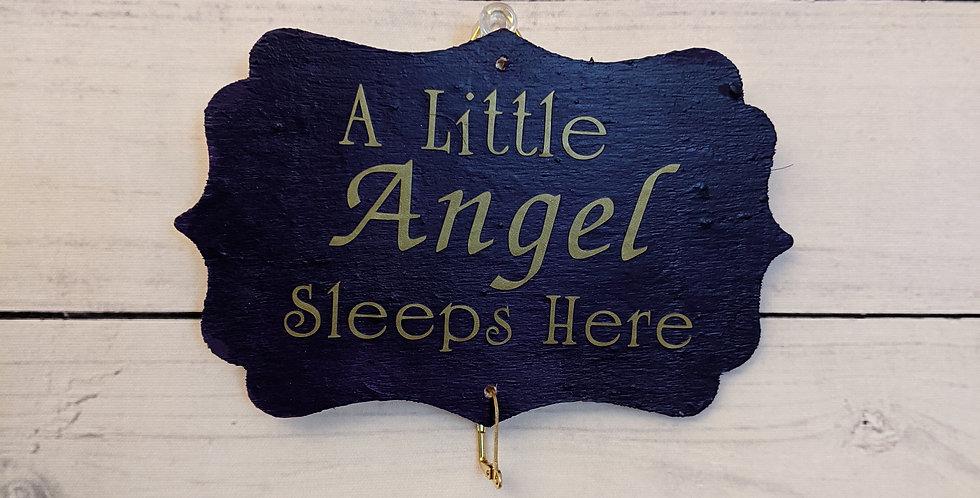 "Royal Purple Wall Plaque ""A Little Angel Sleeps Here"""