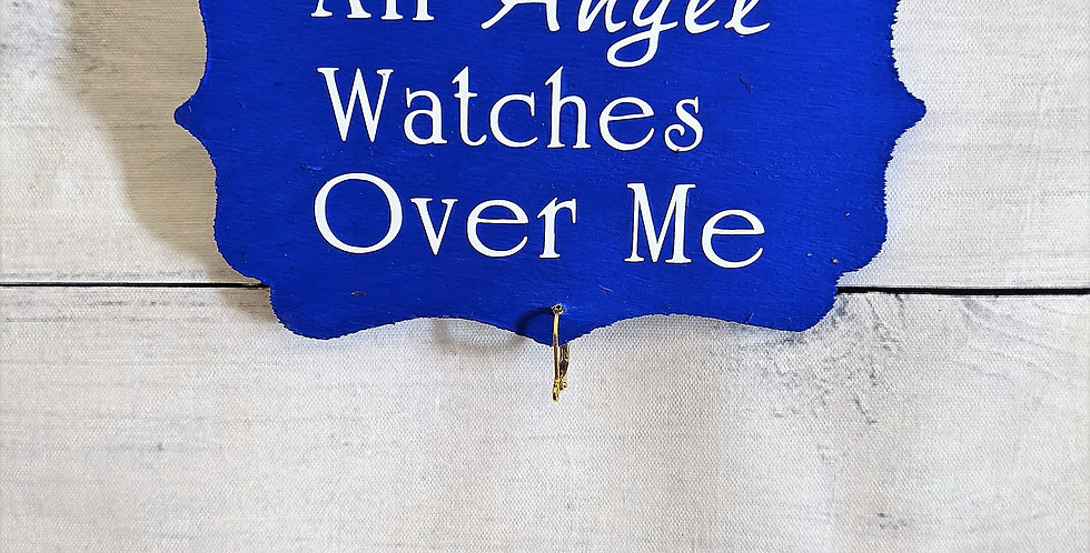 """Blue Wooden Wall Plaque """"An Angel Watches Over Me"""""""