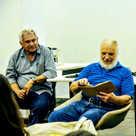 Numa noite de conversas com o tipógrafo Mathias e o amigo professor Sérgio Antônio Silva -  Escola de Design da UEMG (data a confirmar).  Foto: ?