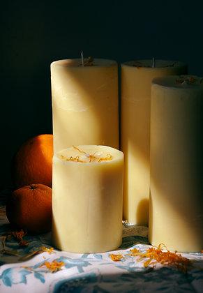 Large Orange Pillar Candle