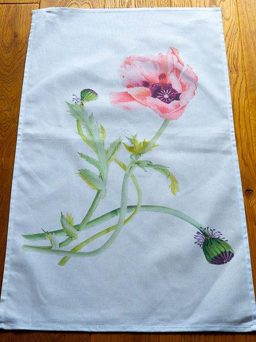 Tea Towel - Pink & Purple Flowers by Sue Edwards