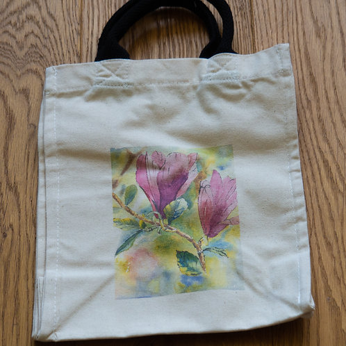 Lunch/small shopper bag - Pink flowers by Sue Edwards