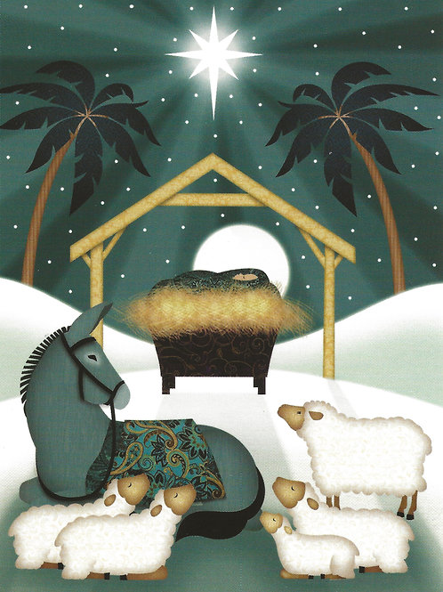 Animals at the Manger - pack of 10 Christmas Cards