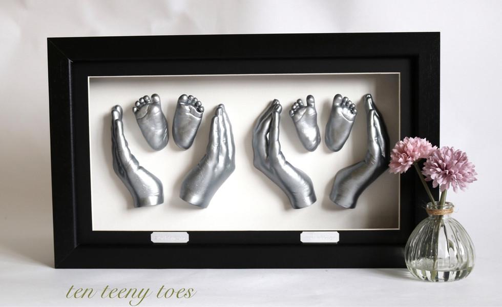 Sibling frame - newborn twins, 10yo and 17yo