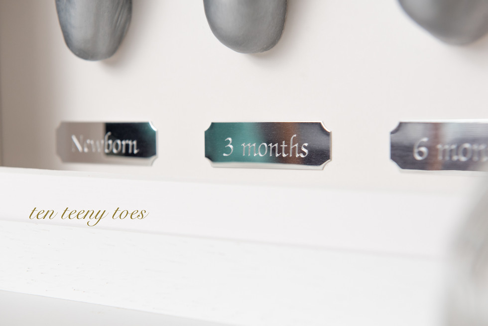 Newborn, 3 months and 6 months, silver name plates.