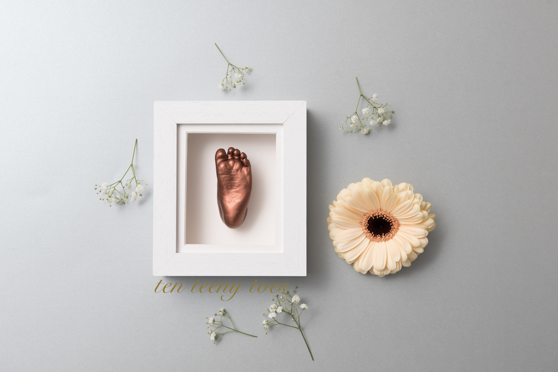 One bronze foot cast in a contemporary white frame.