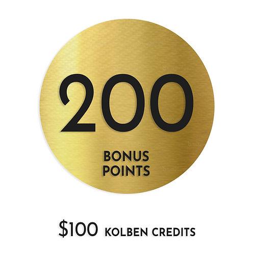 $100 Kolben Credit + 200 pts bonus