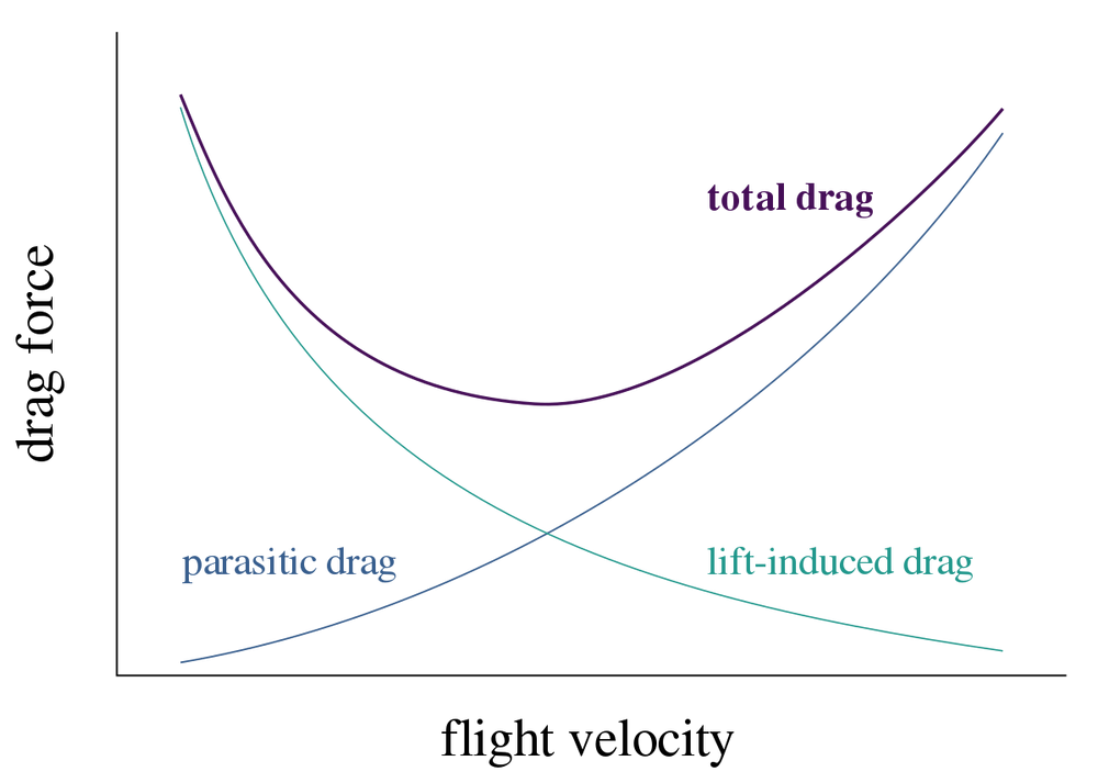 Parasitic drag and induced drag force