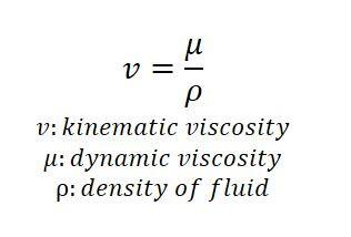 Kinematic viscosity formula