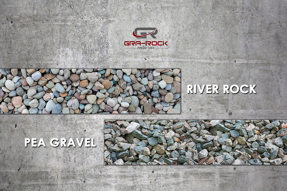 pea gravel and river gravel