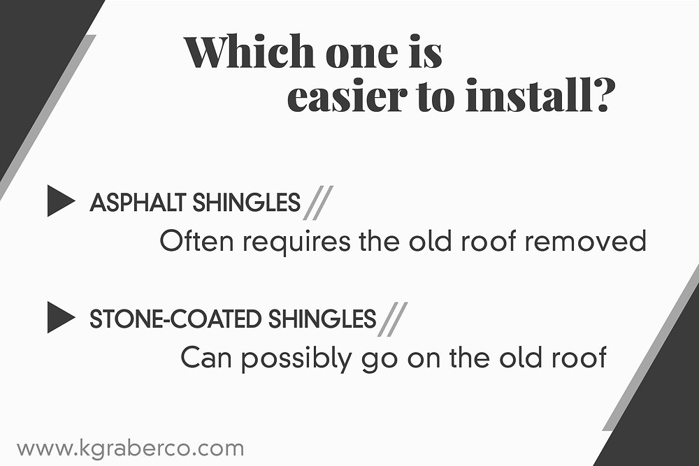 asphalt vs stone coated shingles ease of installation