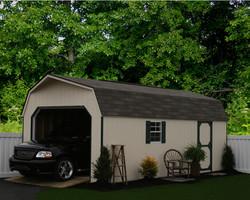 12x24 Wood Garage High Wall Barn