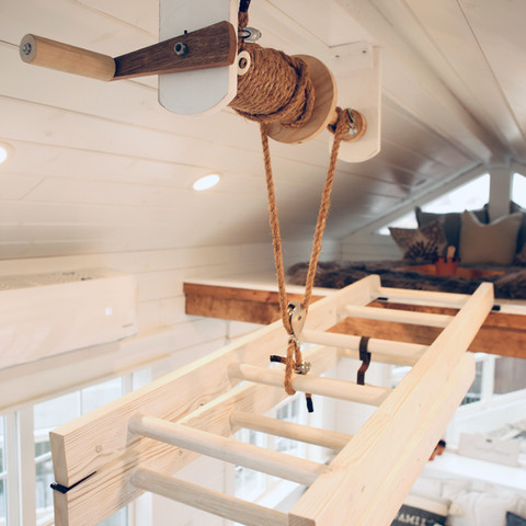 Loft ladder in Greenwood Tiny Home's house