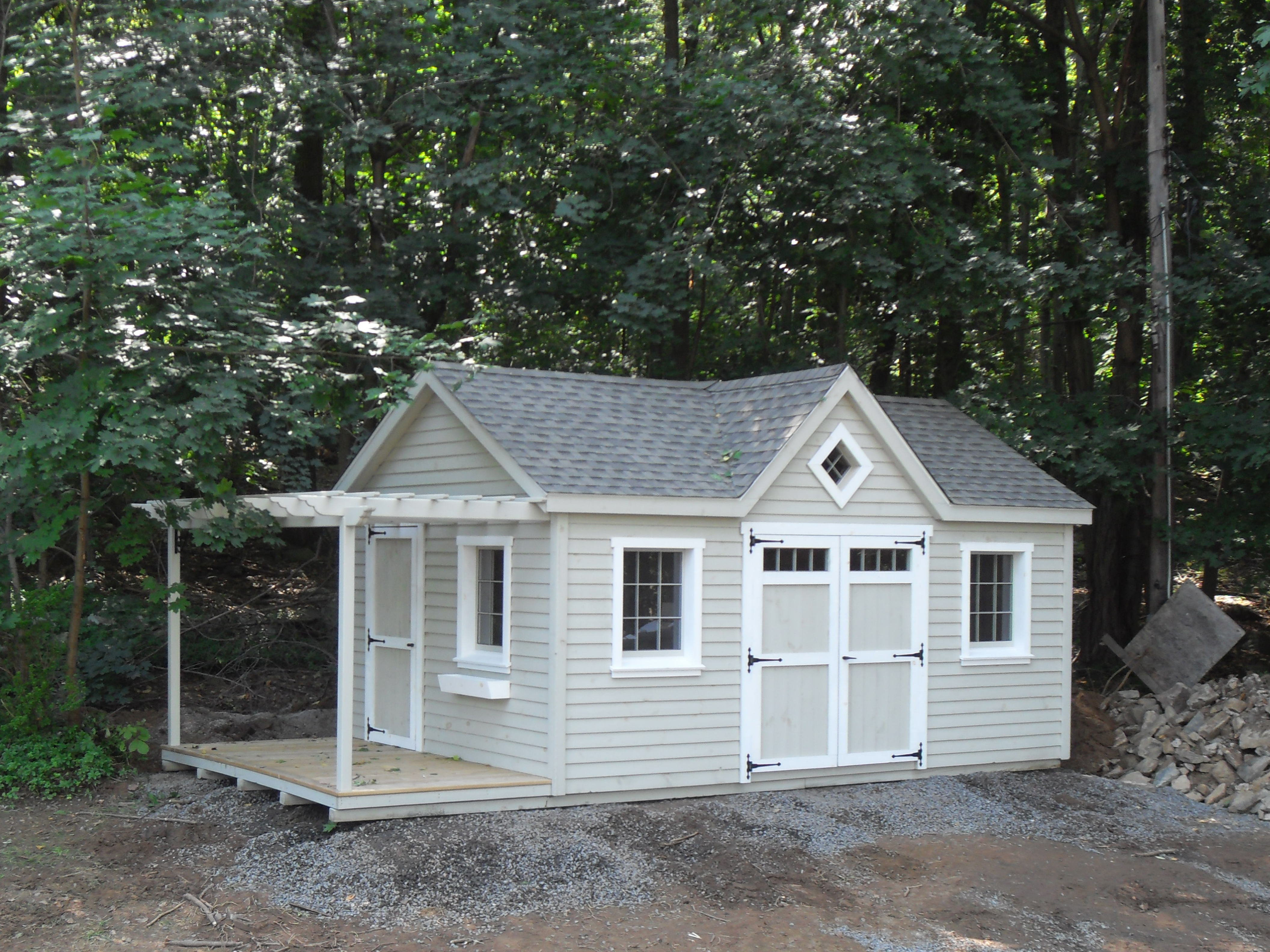 Shed w, Attached Pergola 6_x12_. Cape Cod, rough sawn, recessed wood sash windows