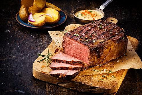 HORSERADISH & ROSEMARY RUBBED ROAST BEEF DINNER.