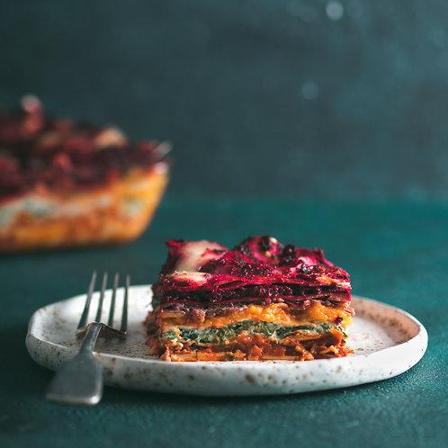 Epic vegan lasagne, house salad, garlic bread