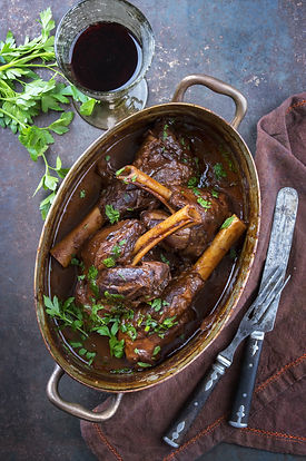 Slow Cooked Lamb Shanks in Red Wine Sauc