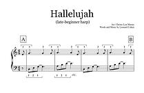 Hallelujah Late Beginner Harp Sheet Musi