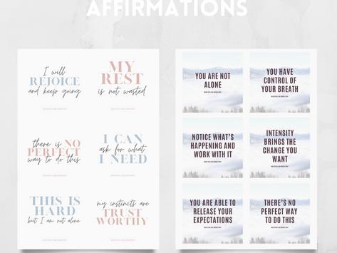 12 Printable Birth + Postpartum Affirmations