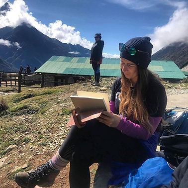 Aleks Slijepcevic journaling in Nepal