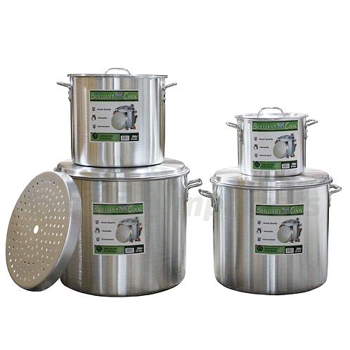 Brilliant Cook 4 Pc. Aluminum Pots w/ Steamer (12, 36, 60, 80 Qts.)