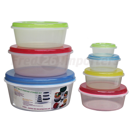 14Pc. Round Plastic Container Set