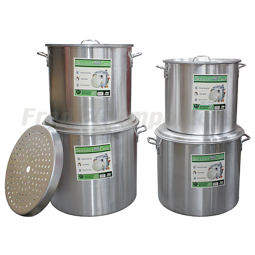 Brilliant Cook 4 Pc. Aluminum Pots w/ Steamer (48, 60, 80, 100 Qts.)