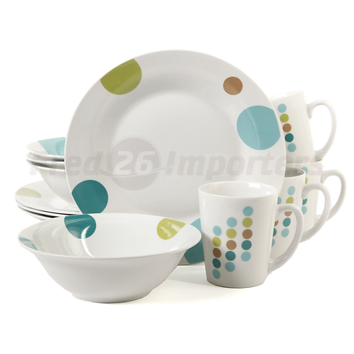 Gibson Home Retro Specks 12 Piece Dinnerware Set