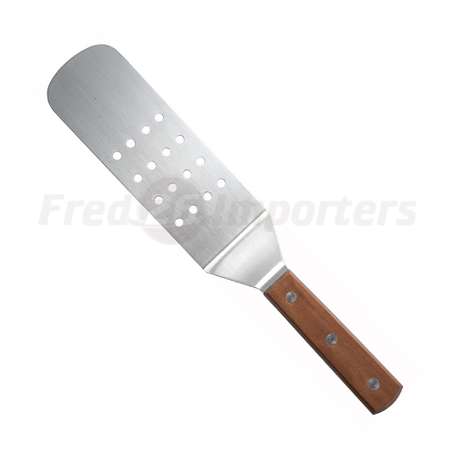 Perforated Flexible Turner with Offset, Wooden Handle