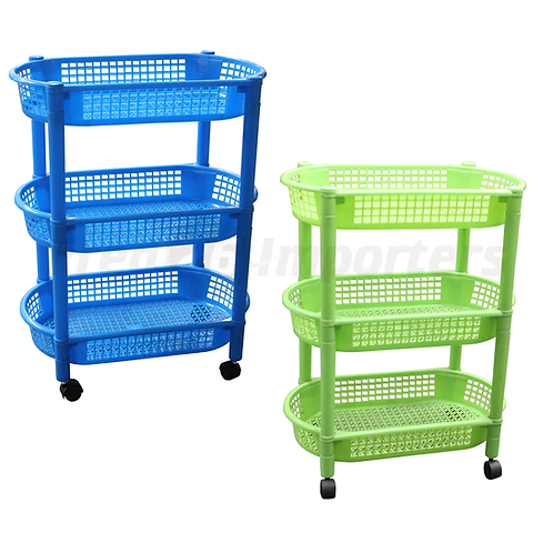Plastic Rack with Wheels 3 Layers, Oval