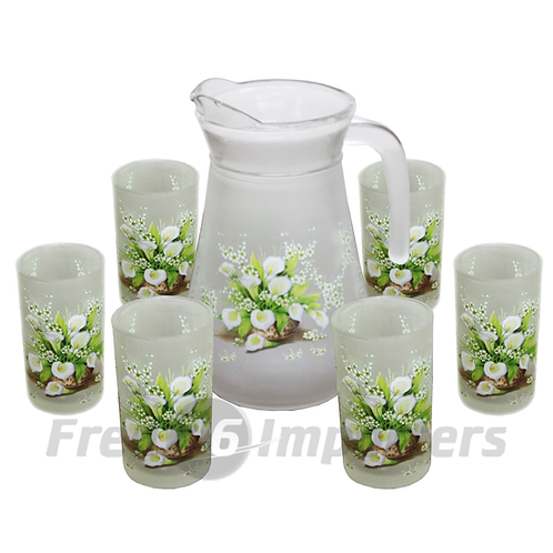 7Pc Glass & Pitcher Set (LILY PARTY)