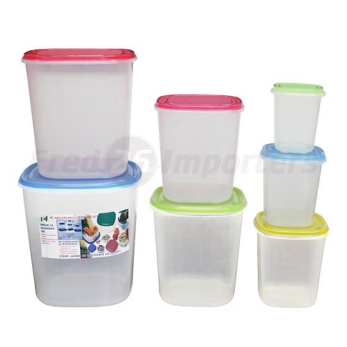 14Pc. Tall Square Plastic Container Set