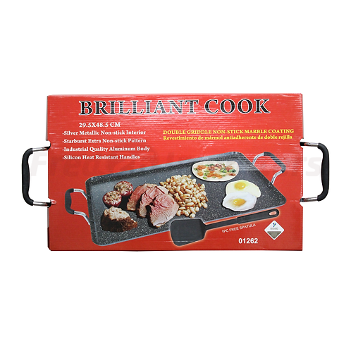 Brilliant Cook Double Griddle Marble Coating w/ Spatula