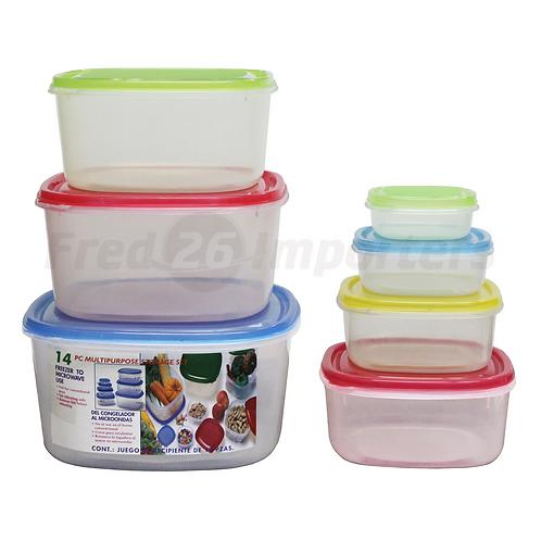 14Pc. Square Plastic Container Set