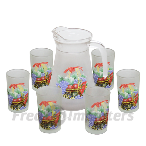 7Pc. Glass & Pitcher Set (FRUIT BASKET)