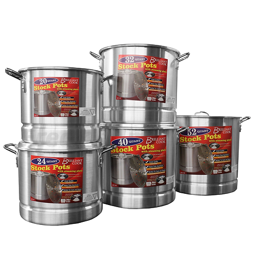Brilliant Cook 5 Pc. Aluminum Stock Pot w/ Steamer (20, 24, 32, 40, 52Qts)