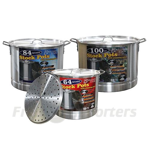 Brilliant Cook 3 Pc. Aluminum Stock Pot w/ Steamer (64, 84, 100Qts)