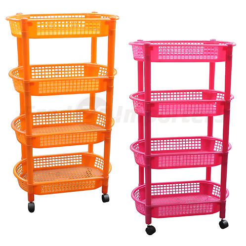 Plastic Rack with Wheels 4 Layers, Oval
