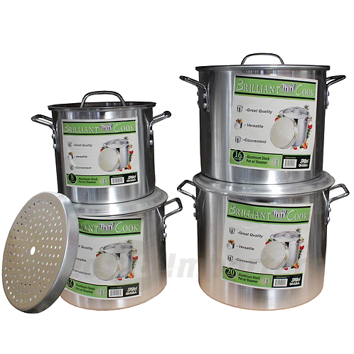 Brilliant Cook 4 Pc. Aluminum Pots w/ Steamer (8, 12, 16, 20 Qts.)