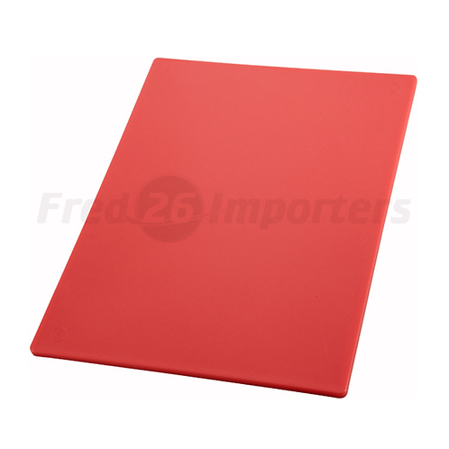 "12"" x 18"" x 1/2"" HAACP Color-Coded Cutting Board, Red"