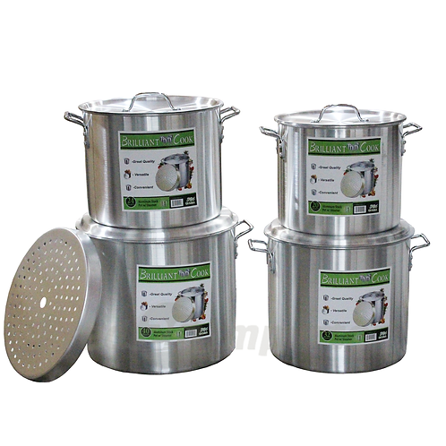 Brilliant Cook 4 Pc. Aluminum Pots w/ Steamer (20, 24, 32, 40 Qts.)